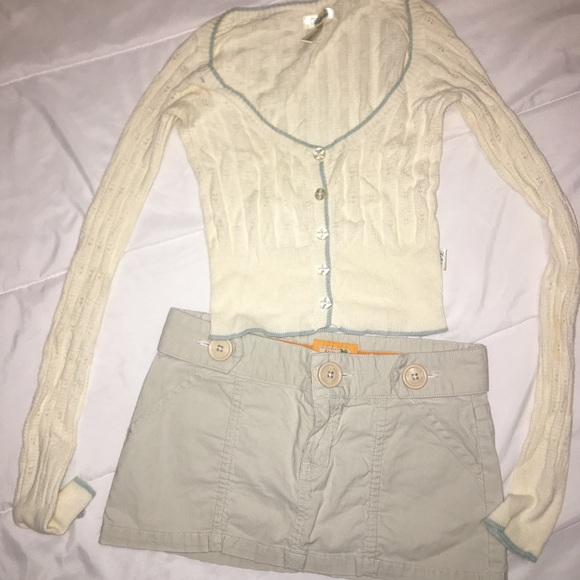 Cute hollister outfit mini skirt and crop cardigan